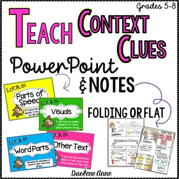 CONTEXT CLUES POWERPOINT AND NOTES: CORNELL AND FOLDING INTERACTIVE