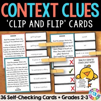 Context Clues Activity: 36 Context Clues Task Cards for Grades 2-3 (Clip & Flip)