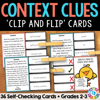 Context Clues Passage Task Cards for Grades 2-3 {Clip & Flip!}