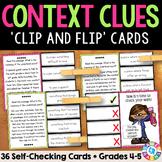 Context Clues Passage Task Cards for Grades 4-5 {Clip & Flip!}