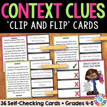 Context Clues Activity: 36 Context Clues Task Cards for Gr