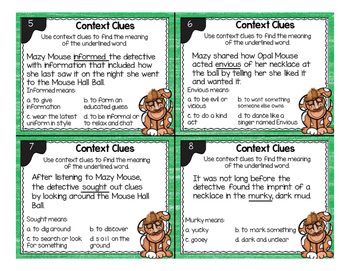 Context Clues Task Cards with Bonus Reading Comprehension Detective Mystery