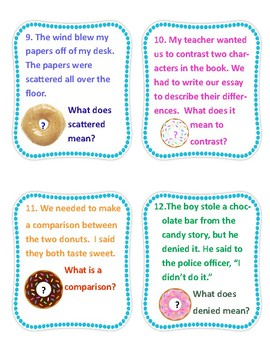 Context Clues: Teach using Visual Support, Task Cards,Handouts