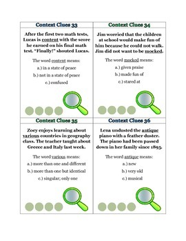 Context Clues: 52 Task Cards Common Core Standard ELA-Literacy.RF.4.4c