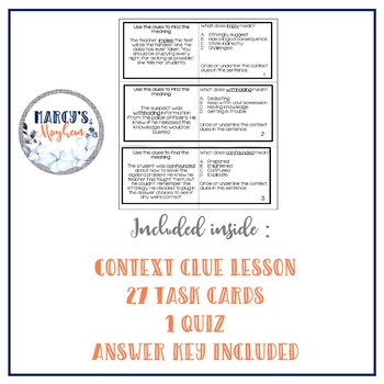 5th & 6th grade Context Clues Vocabulary activity task cards