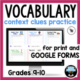 Context Clues Passages Vocabulary Worksheets Digital for g