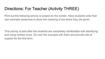 Context Clues Activities (three levels)
