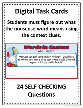 Context Clues Activity Google Task Cards Digital Activity using Nonsense Words