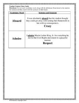 Context Clues Vocabulary Bingo Games Package (pre-made)