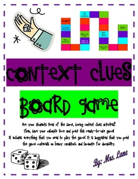 picture regarding Clue Game Board Printable named Context Clues Board Sport (Ideal Heart or Workstation!)