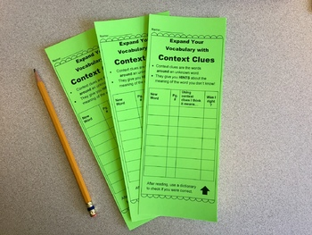 Context Clues Bookmark to Clarify Meaning