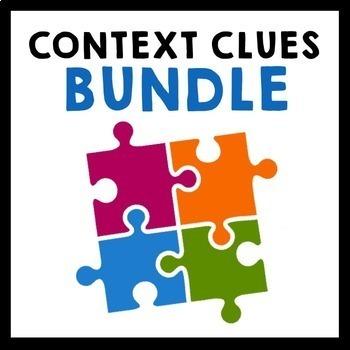 Context Clues Bundle - Grade 5-8 {Task Cards, Exit Slips, Worksheets}