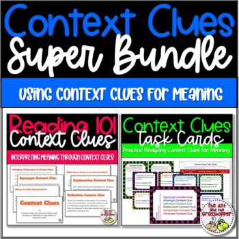 Reading Context Clues Super Bundle:  Slideshow and Task Cards - Upper Grades