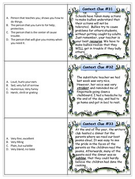 Context Clues Cards ELA Center
