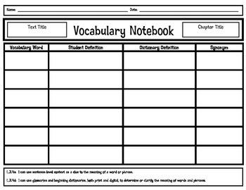 Context Clues Chapter Vocabulary Organizer