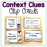 Context Clues Clip Cards: 2 Levels (Reading Comprehension for Special Education)