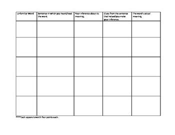 Context Clues Collection Sheet
