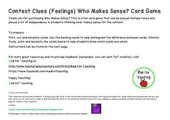 Context Clues Who Makes Sense? Card Game