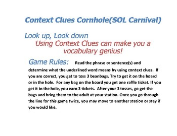 Context Clues Cornhole - Great Game for SOL Review