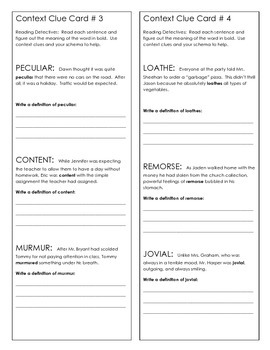 Context Clues Creative Activity Packet