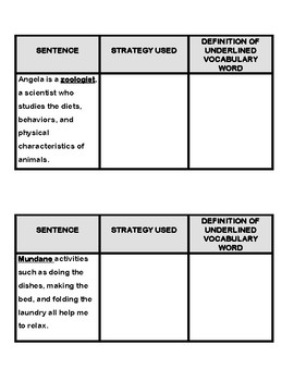 Context Clues Cut and Paste- Interactive Reader's Notebook Activity