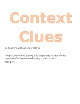 Context Clues Daily Warm-Ups STAAR Reading Prep