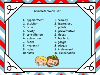 Context Clues Task Cards Dental Health Themed Vocabulary
