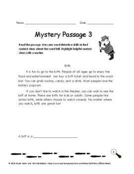 Context Clues - Differentiated Mystery Passages 2nd Edition