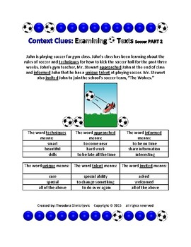 Context Clues: Examining Texts - Soccer Part 1 and Part 2