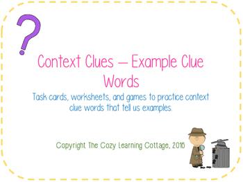 Context Clues- Example Clue Words