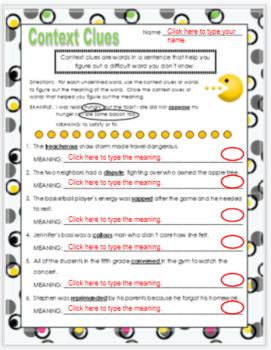 Context Clues Fifth Grade