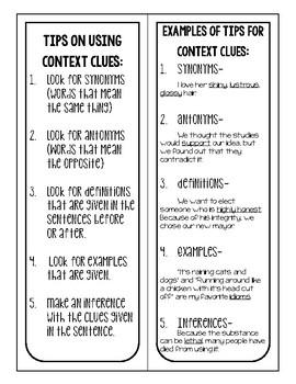 Context Clues File Folder Game