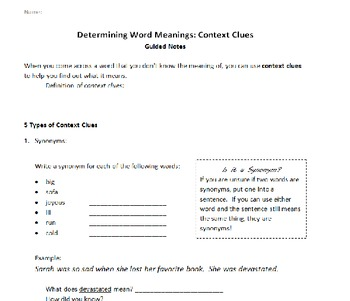 Context Clues/Finding Word Meanings Guided Notes