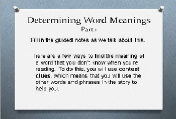 Context Clues/Finding Word Meanings PowerPoint