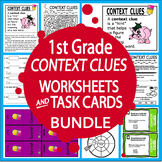 Context Clues Worksheets & Task Cards Bundle – 1st Grade Language Practice