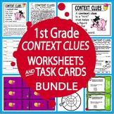 Context Clues Worksheets & Task Cards Bundle–1st Grade Context Clues Activities
