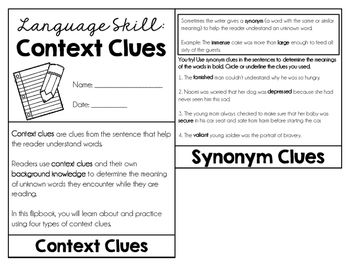Context Clues Flipbook
