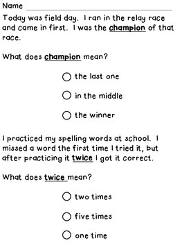 Context Clues For First Graders