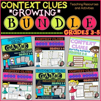 Context Clues GROWING BUNDLE: Task Cards,Sorting Activity, & Games
