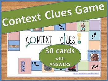 graphic about Printable Clue Board Game Cards named Context Clues Match