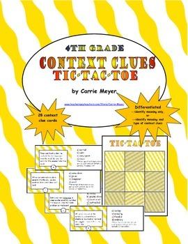 Context Clues Game: Tic Tac Toe (Intermediate Grades)