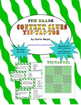Context Clues Game: Tic Tac Toe (Late Intermediate Grades)