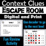 Context Clues Activity Escape Room: Making Inferences Game