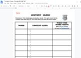Context Clues Google Doc graphic organizer