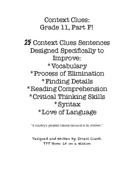 Context Clues: Grade 11, Part F