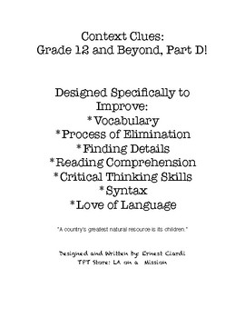 Context Clues: Grade 12 and Beyond, Part D