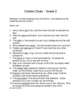 Context Clues, Grade 3