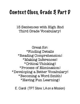 Context Clues, Grade 3, Part D