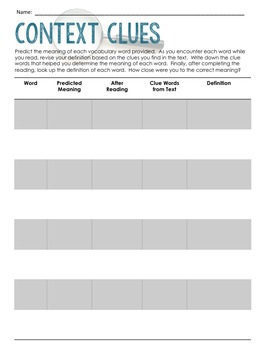 Context Clues Graphic Organizer FREEBIE (Vocabulary and Pre-reading Activity)