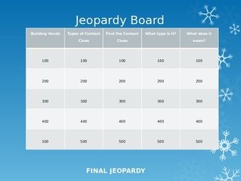 Context Clues PowerPoint Jeopardy Game